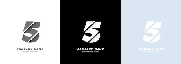 Logotipo do número 5 da arte abstrata. design quebrado.