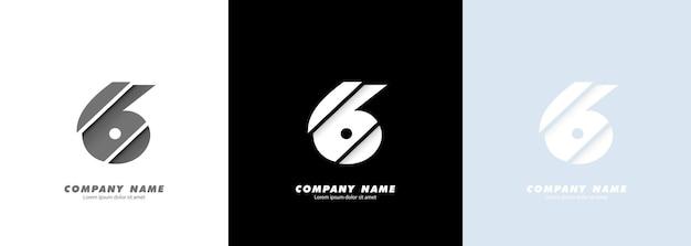 Logotipo do número 6 da arte abstrata. design quebrado.