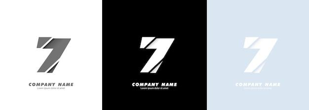 Logotipo do número 7 da arte abstrata. design quebrado.
