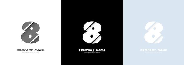 Logotipo do número 8 da arte abstrata. design quebrado.