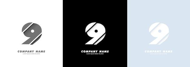Logotipo do número 9 da arte abstrata. design quebrado.