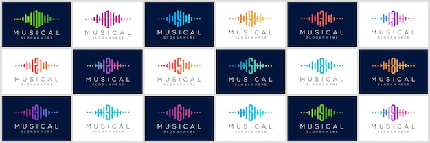 Logotipo do número com conjunto de ícones de pulso