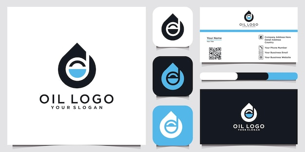 Logotipo do óleo com a letra inicial d e cartão de visita