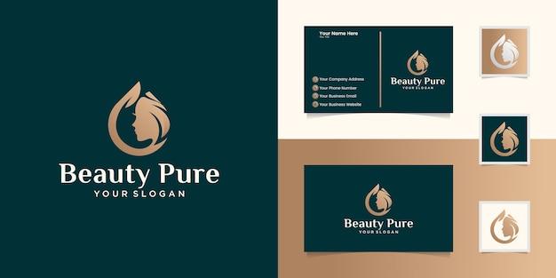 Logotipo do óleo de beleza pura para spa de salão e modelos e cartões de visita de beleza feminina