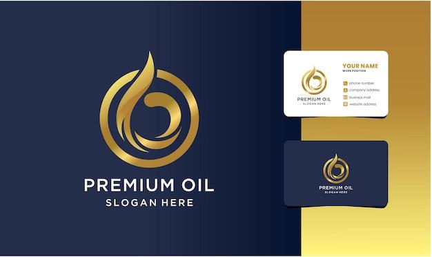 Logotipo do óleo premium com design de cartão de visita.