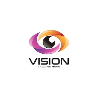 Logotipo do olho colorido abstrato