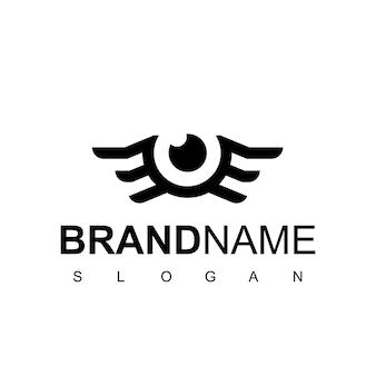 Logotipo do olho com símbolo de asa