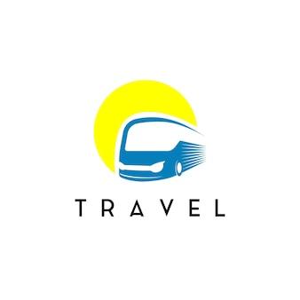 Logotipo do ônibus, símbolo de logística e viagem