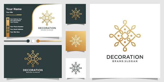 Logotipo do ornamento com estilo de arte de linha dourada e design de cartão de visita