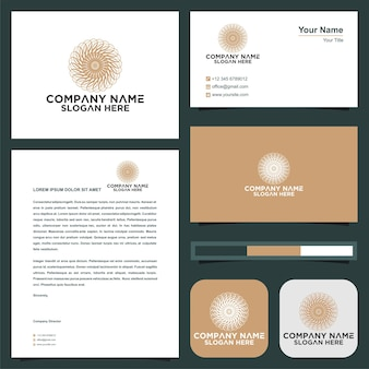 Logotipo do ornamento e cartão de visita premium