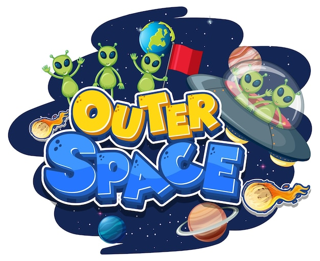 Logotipo do outer space com alienígenas e ovnis