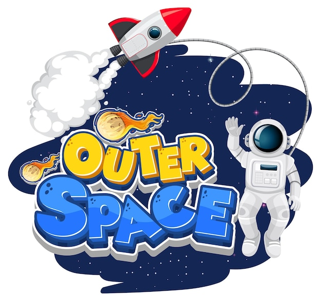 Logotipo do outer space com astronauta e nave espacial