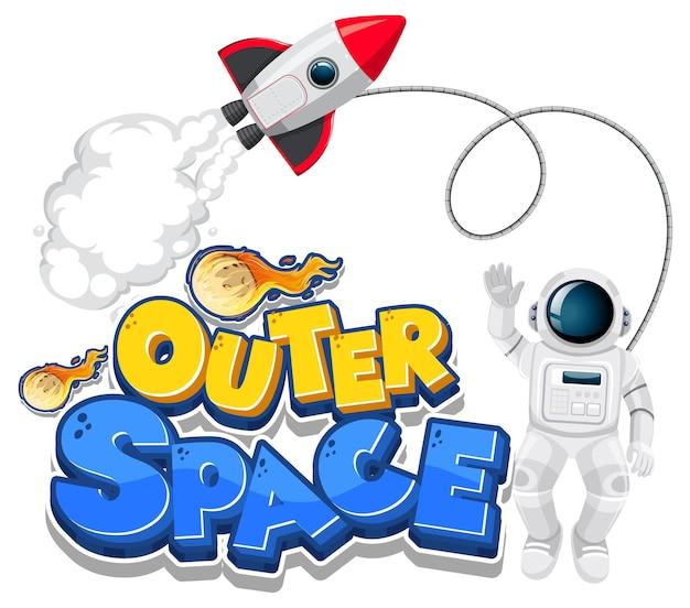 Logotipo do outer space com nave espacial e astronauta