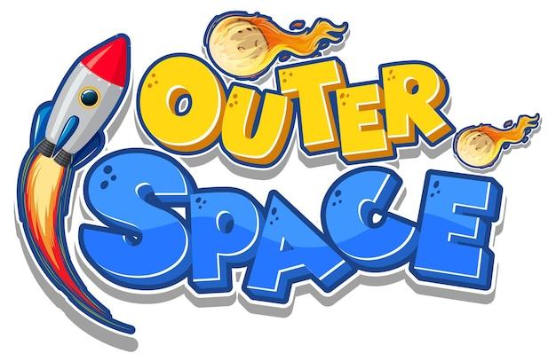 Logotipo do outer space com nave espacial