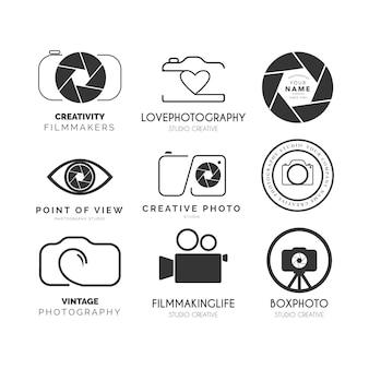 Logotipo do pacote de fotografia moderna com design vintage