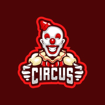 Logotipo do palhaço de circo e esporte
