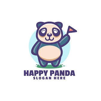 Logotipo do panda feliz isolado no branco