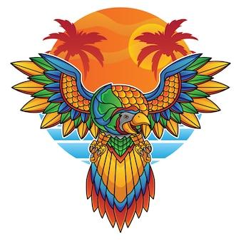Logotipo do papagaio de férias
