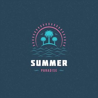 Logotipo do paraíso de verão com palmeiras