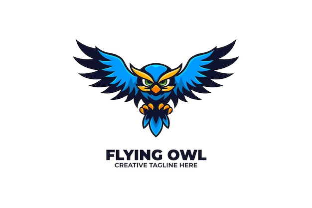 Logotipo do pássaro animal flying blue owl