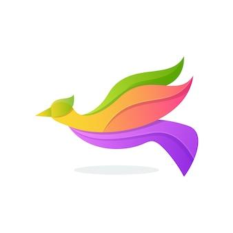 Logotipo do pássaro colorido impressionante