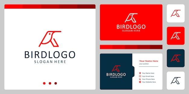 Logotipo do pássaro com formato de linha e letra inicial a. design de cartão de visita