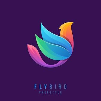 Logotipo do pássaro criativo com cores gradientes.