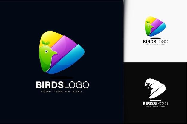 Logotipo do pássaro e do triângulo com gradiente