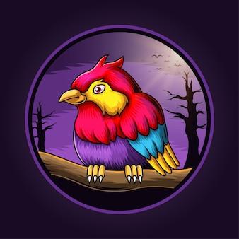 Logotipo do pássaro mascote à meia-noite
