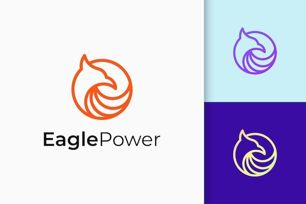 Logotipo do pássaro ou águia símbolo de poder e liberdade para empresa de tecnologia