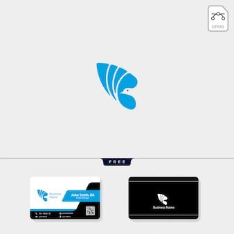 Logotipo do pássaro voador e design de cartão de visita grátis