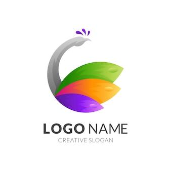 Logotipo do pavão com estilo colorido
