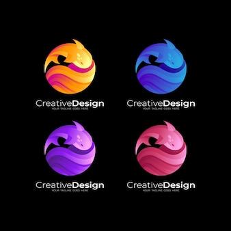 Logotipo do peixe com ilustração de desenho de círculo, logotipos coloridos em 3d