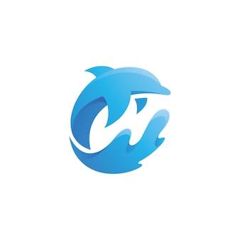 Logotipo do peixe golfinho e respingos de água