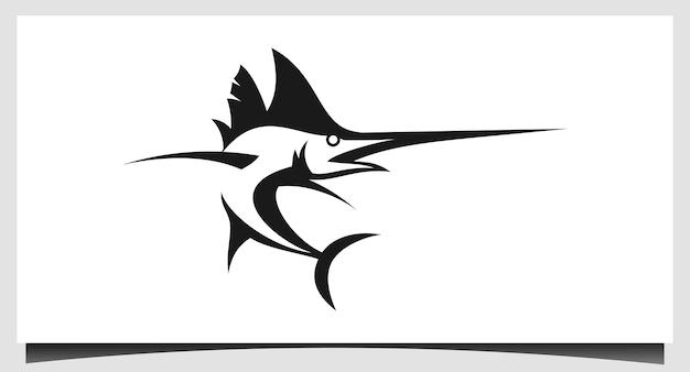 Logotipo do peixe marlin. espada logotipo da pesca do marlin irritado