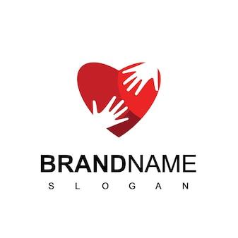 Logotipo do people care com símbolo de mão