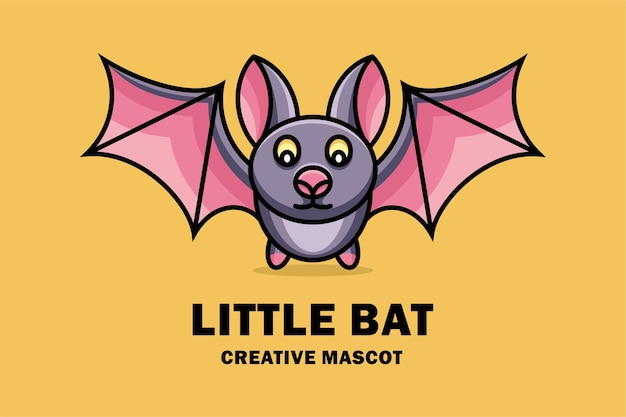 Logotipo do pequeno mascote criativo do morcego