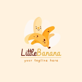 Logotipo do personagem banana com slogan