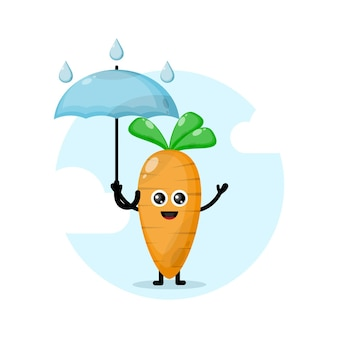 Logotipo do personagem cenoura guarda-chuva fofo