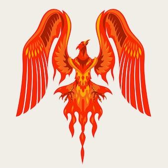 Logotipo do personagem da mascote red phoenix com ilustração do efeito de fogo