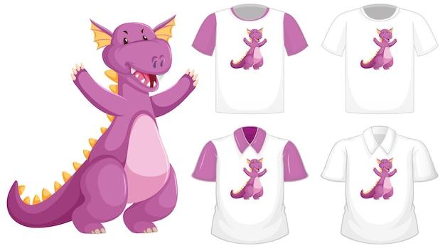 Logotipo do personagem de desenho animado do dragão em uma camisa branca diferente com mangas curtas roxas isoladas