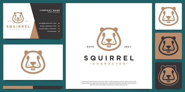 Logotipo do personagem esquilo minimalista