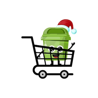 Logotipo do personagem fofinho da caixa de lixo de compras de natal