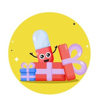 Logotipo do personagem fofinho da cápsula do presente