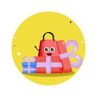 Logotipo do personagem fofinho da sacola de compras para presentes
