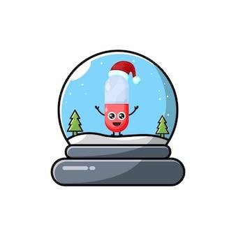 Logotipo do personagem fofinho de cúpula da cápsula de natal