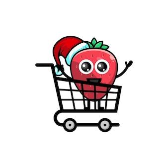 Logotipo do personagem fofinho de morango de compras de natal