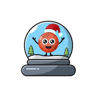 Logotipo do personagem fofinho do basquete cúpula de natal