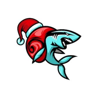 Logotipo do personagem fofinho do tubarão caracol natal