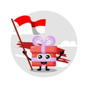 Logotipo do personagem fofo da bandeira do presente